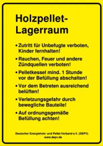 Pelletlager-Warnhinweis