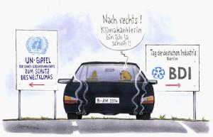 Deutscher Beitrag zum Klimagipfel, Karrikatur: SFV/Mester 2014