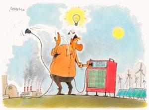 Karrikatur Speicher für die Energiewende