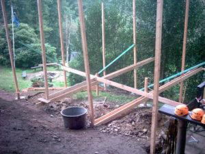 Bau eine kleinen Holzhütte